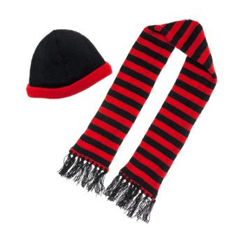 RED AND BLACK BEANIE AND SCARF SET