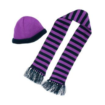 NAVY AND PURPLE BEANIE AND SCARF SET